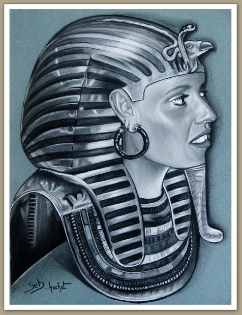 Dessinateur portraitiste, Profil d'une femme en Toutankhamon...