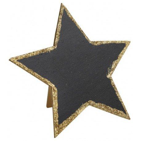 Marque table ardoise étoile or pailleté : Déco de table festive