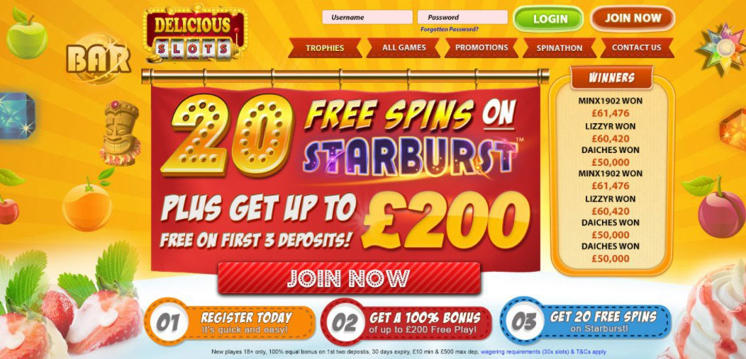 Delicious Slots | Win Up To 500 FREE SPINS on Starburst