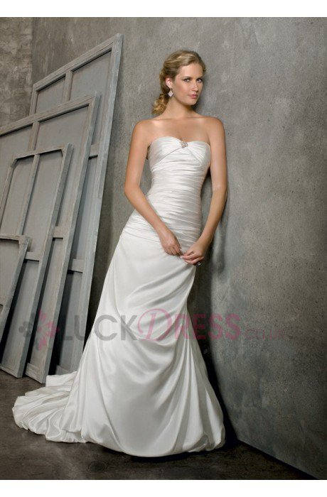 Sheath Strapless Sleeveless Natural Cheap Wedding Dresses - Luckdress.co.uk