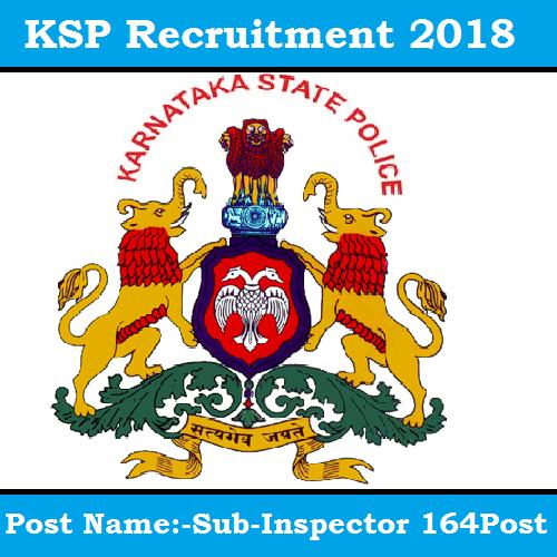 karnataka police Recruitment 2018   164 Post for Police Sub-Inspector