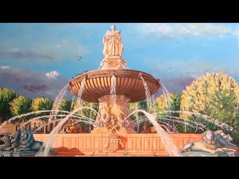 Fontaine de la Rotonde d' Aix-en-Provence peinture huile sur toile ...