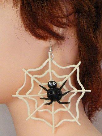 Boucle d'oreille Toile d'araignée en fimo Argent 925