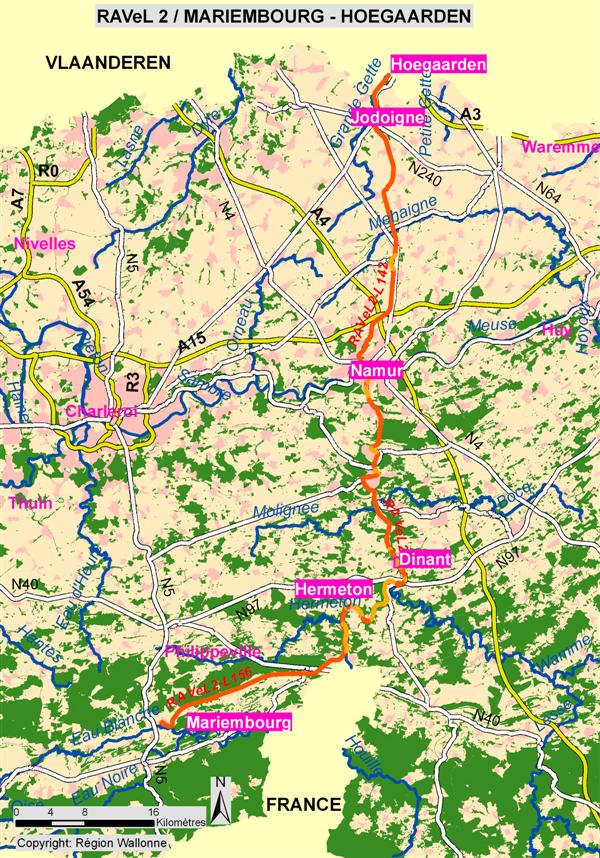 RAVeL - Le RAVeL 2 : Mariembourg - Hoegaarden (113,8 km)
