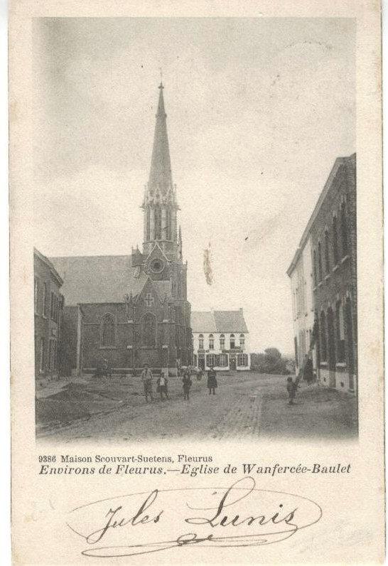 Wanfercée Baulet - Eglise sur la place - Carte postale ancienne et vue d'Hier et Aujourd'hui