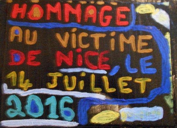 Tableau : hommage au victime de Nice le 14 juillet 2016