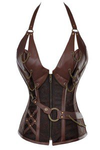Joyshion 14 Steel Boned Zipper Waist Training Halter Neck Steampunk Leather Corset