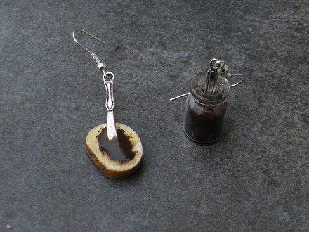 Boucles d'oreilles pâte à tartiner au chocolat en fimo Argent 92