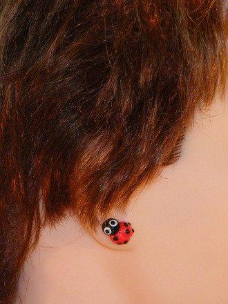 Boucle d'oreille coccinelle en fimo : Boucles d'oreille par jl-bijoux-creation