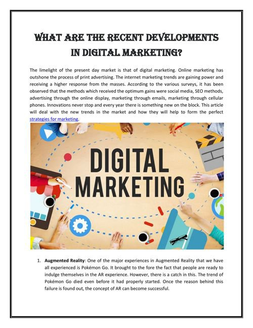 Recent Developments In Digital Marketing