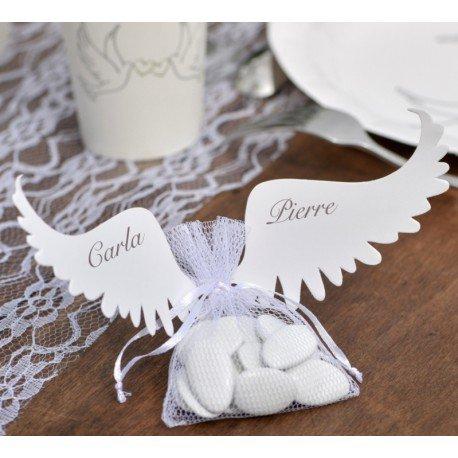 Etiquette ailes d'ange blanc carton les 6 : Etiquettes Marque-place