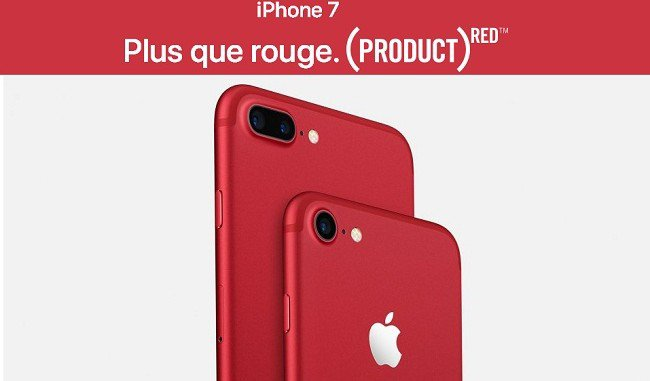 RED: iPhone 7 et l'iPhone 7 Plus se parent de rouge