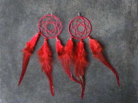 Boucle d'oreille attrape rêve rouge Argent 925