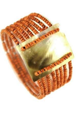 Bracelet élastique en rocailles et nacre