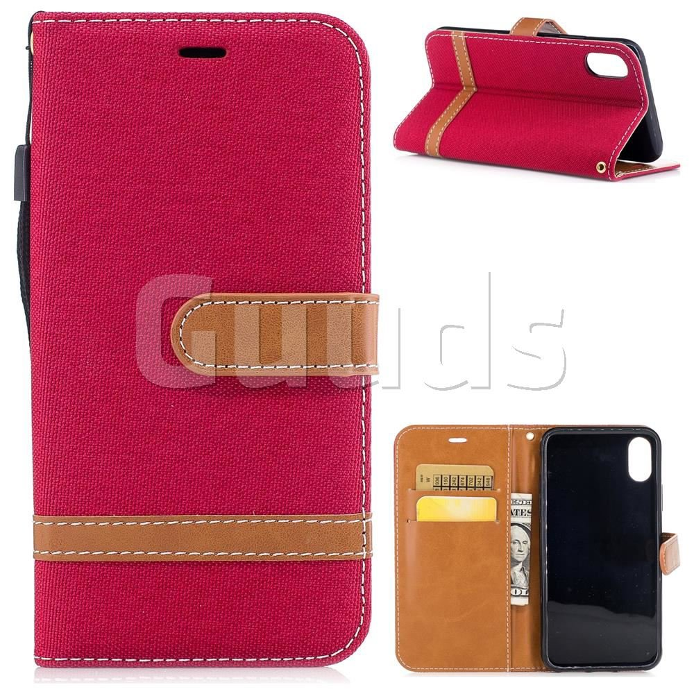 Jeans Cowboy Denim Leather Wallet Case for iPhone 8 - Red - Leather Case - Guuds