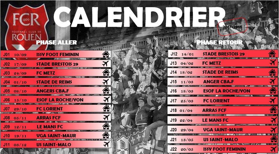Le calendrier de la D2 Féminine !