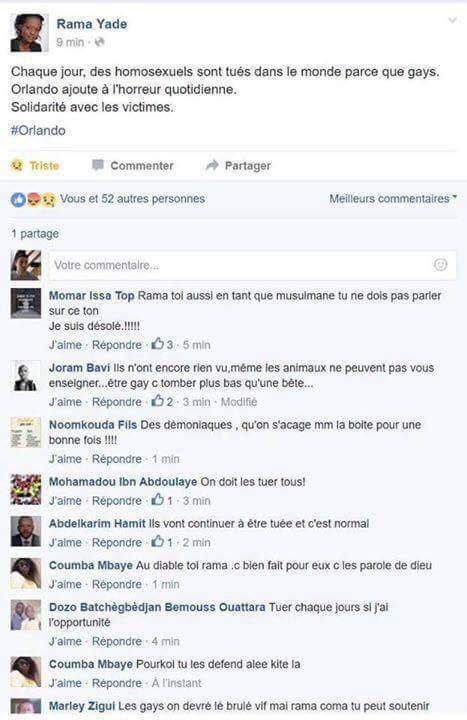 Les commentaires homophobes sur la page Facebook de madame Rama Yade