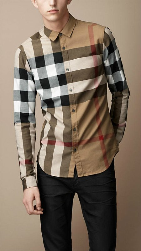 Burberry Mens Shirts Long Sleeve Big Checks Coffee - Nike Zoom ...