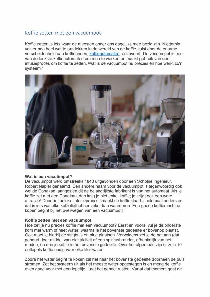 Koffie zetten met een vacuümpot