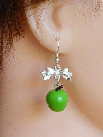 Boucle d'oreille pomme en fimo Argent 925 : Boucles d'oreille par jl-bijoux-creation