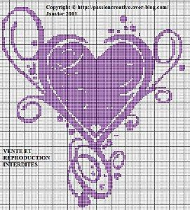Grille gratuite point de croix : Récapitulatif Coeur Amour 2011