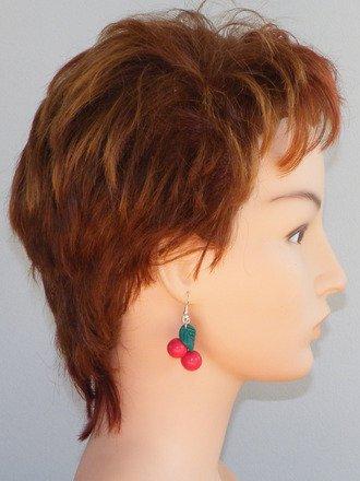Boucle d'oreille duo de Cerise en fimo Argent 925 : Boucles d'oreille par jl-bijoux-creation