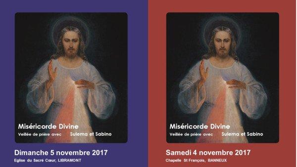 *Invitation pour ceux qui le veulent,à venir prier et rencontrer Suléma et Sabino en Belgique*Les…4 & 5 Novembre 2017*La Miséricorde et la tendresse de Dieu pour tous ses enfants.