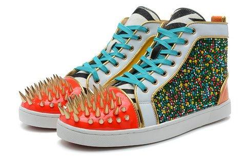 Colorful Louboutins Spikes Rhinestone High Tops Sneakers For Adults ... 80490ee84