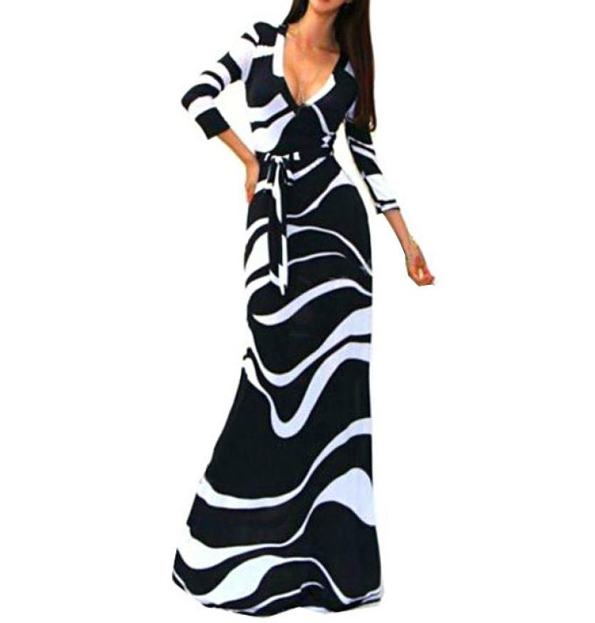 New Women's Striped V Neck 3/4 Sleeve High Waist Black Long Maxi Dress – Express Delivry