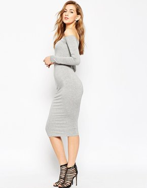 ASOS Long Sleeve Midi Off The Shoulder Bardot Bodycon Dress at asos.com