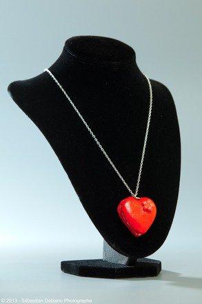 Collier coeur en fimo