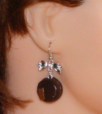 Boucle d'oreille Macaron en fimo Argent 925 : Boucles d'oreille par jl-bijoux-creation
