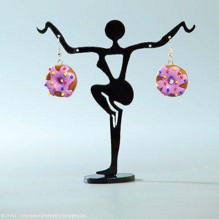Boucle d'oreille Donut en fimo Argent 925 : Boucles d'oreille par jl-bijoux-creation
