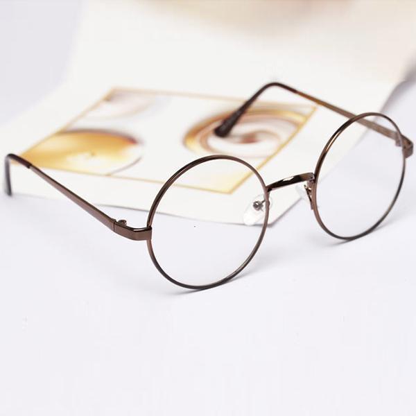 Retro Round Glasses Frame Women Metal