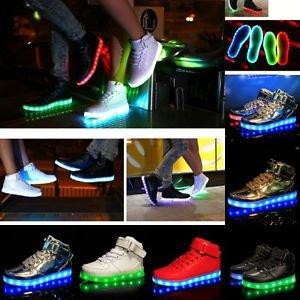 Adults Haut Top Lumière LED Light Shoes 7 Couleurs Lumineux Sneakers Chaussure | eBay