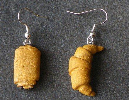 Boucle d'oreille viennoiseries en fimo Argent 925 : Boucles d'oreille par jl-bijoux-creation