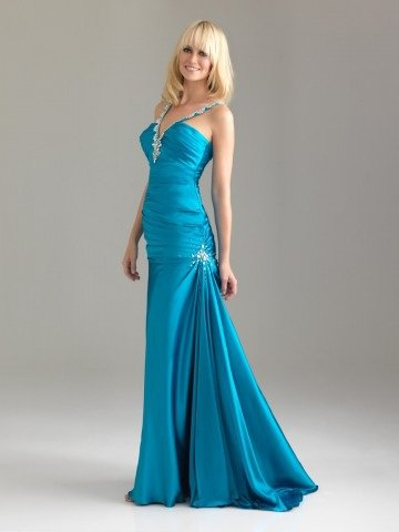 2012 Style Trumpet / Mermaid V-neck Beading Sleeveless Sweep / Brush Train Elastic Woven Satin Prom Dress / Evening Dress