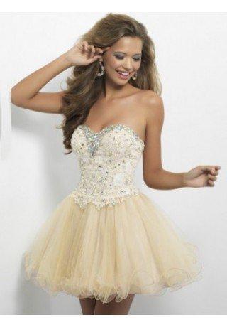 A-line Sweetheart Tulle Cocktail Dresses/Short Prom Dress With Beading - Evening - Fashionweddingdress.co.uk