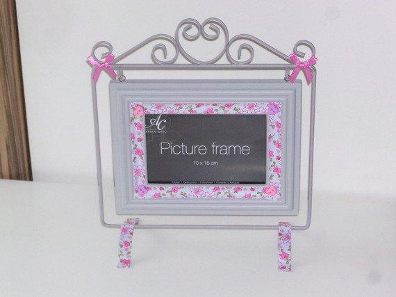 cadre photo shabby-chic en bois et métal gris décoratif : Accessoires de maison par idees-cadeaux-d-ameline