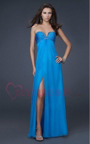 Buy Cheap Blue A-Line/Princess Crystal Chiffon Chiffon Prom Dresses UK 50-70% Off - Buydresshop.co.uk
