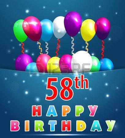Carte de joyeux anniversaire de 58 ans avec des ballons et des rubans, 58e anniversaire