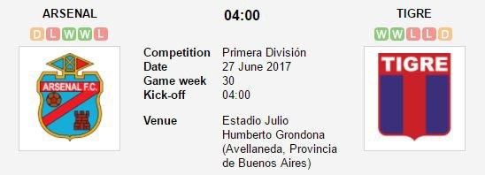 Prediksi Arsenal de Sarandi Vs Club Atletico Tigre 27 Juni 2017