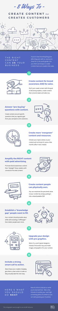 just free learn : 8 Ways To Create Content That Creates Customers Infographic
