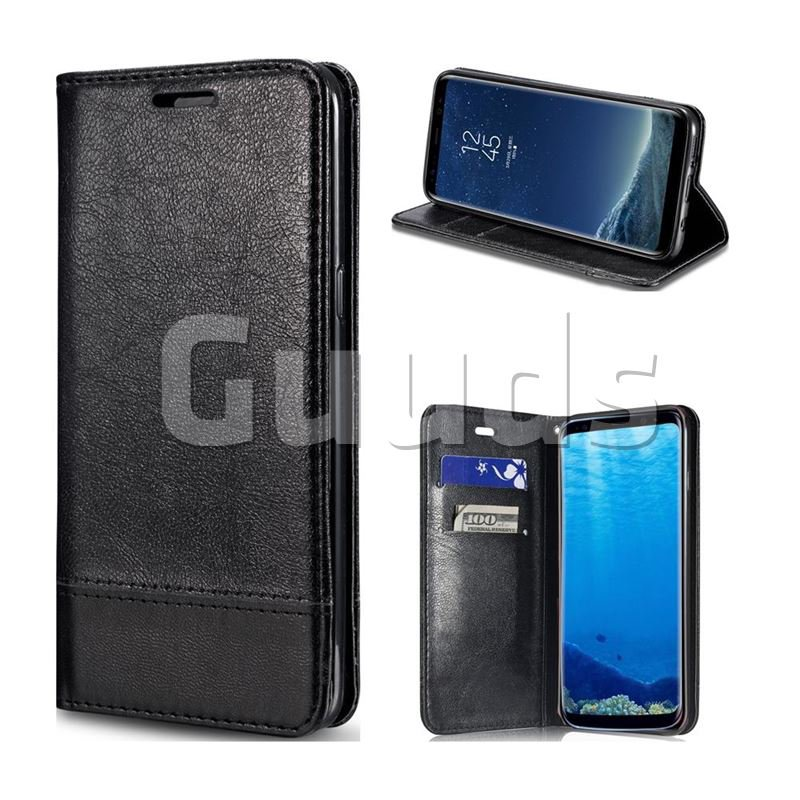 Magnetic Suck Stitching Slim Leather Wallet Case for Samsung Galaxy Note 8 - Black - Leather Case - Guuds