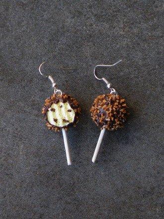 Boucle d'oreille sucette croquée en fimo #2 Argent 925 : Boucles d'oreille par jl-bijoux-creation