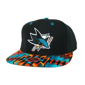 Casquette San Jose Sharks Customisee avec un Tissu Imprime Azteque et dessous en Cuir Noir - Snapback Officielle NHL - EDITION LIMITEE: Amazon.fr: Sports et Loisirs