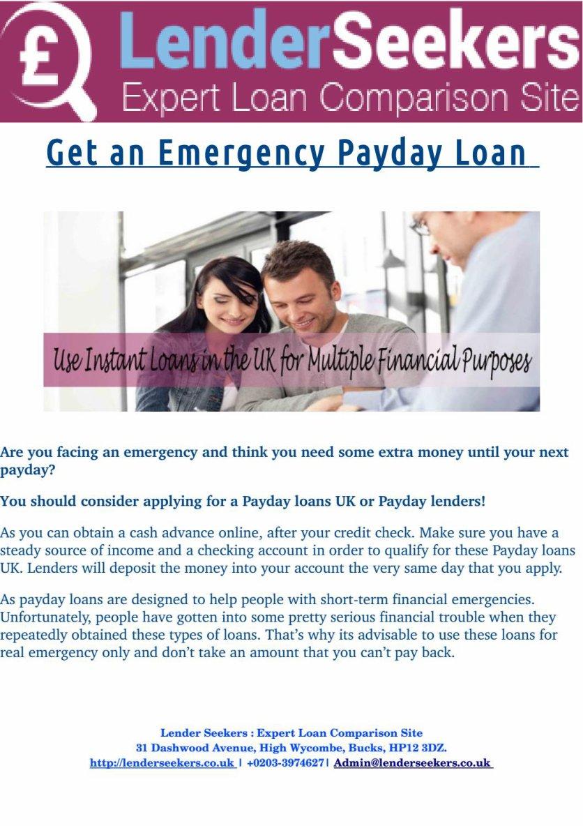 Emergency Payday Loan Online at LenderSeekers