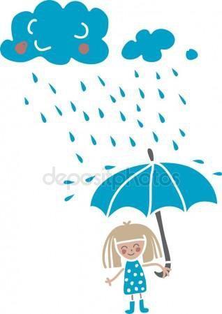 Ragazza fumetto sotto la pioggia