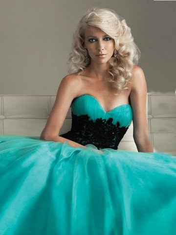 2012 Style A-line Sweetheart Lace Sleeveless Floor-length Tulle Green Prom Dress / Evening Dress
