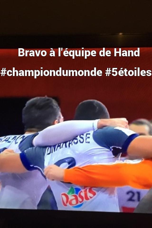 Bravo à l'équipe de Hand #championdumonde #5étoile...